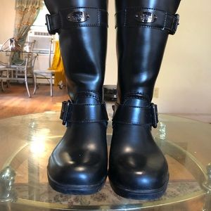 Leather Black And Buckle Coach Waterproof boots